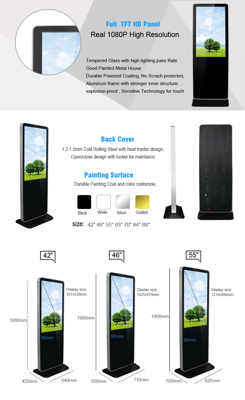 43inch led screen android wireless monitor network media player digital signage advertising