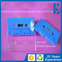 blank cassette audio tape with blue housing