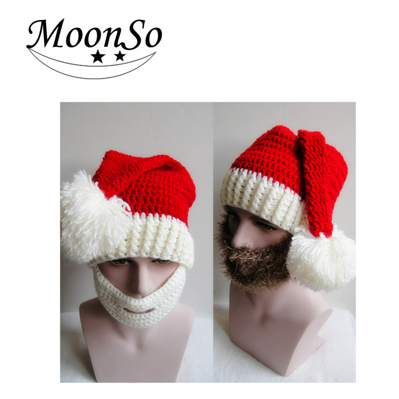 Europe style Christmast Ornament <strong>Christmas</strong> winter Hat beard hats hand knitted hat for <strong>christmas</strong> men and women Moonso A5004
