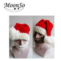 Europe style Christmast Ornament Christmas winter Hat beard hats hand knitted hat for christmas men and women Moonso A5004