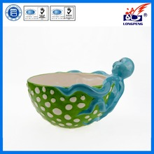 Ceramic Ocean Series 3D Hand-Painted Animal Shape Cartoon Ceramic Bowl,Unique Cute Octopus Shaped Ceramic Bowl