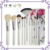 12 pcs makeup brush set black and white combination with rose flower color cosmetic bag