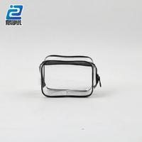 Pink seam transparent pvc steal zipper plastic zipper make up bag