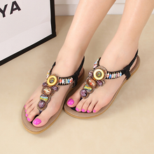 SAA3356 Latest 2015 fashion women sandals shoes bohemia style fancy colorful beaded ladies flat flip flops sandals