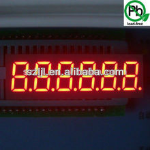 Amber Orange color 0.36 inch 6 digit 7 segment led clock display
