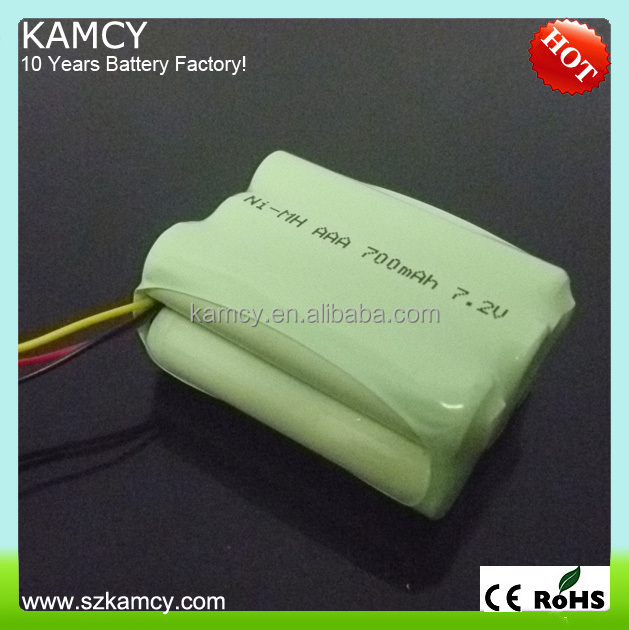 6 cells ni-mh 7.2v 600mah aaa rechargeable battery pack