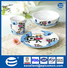 high quality white porcelain blue kinder dinner set milk cow 3pcs with black and white