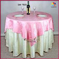 Fancy polyester damask jacquard wedding table overlay and tablecloth