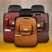 6 colors in stock car back seat storage hanging bag organizer with leather