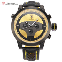 Shark Cycling Analog Quartz Sport Leather Strap 6 Hands Multifunction Dual Time Zone Date Day Calendar Watch For Men