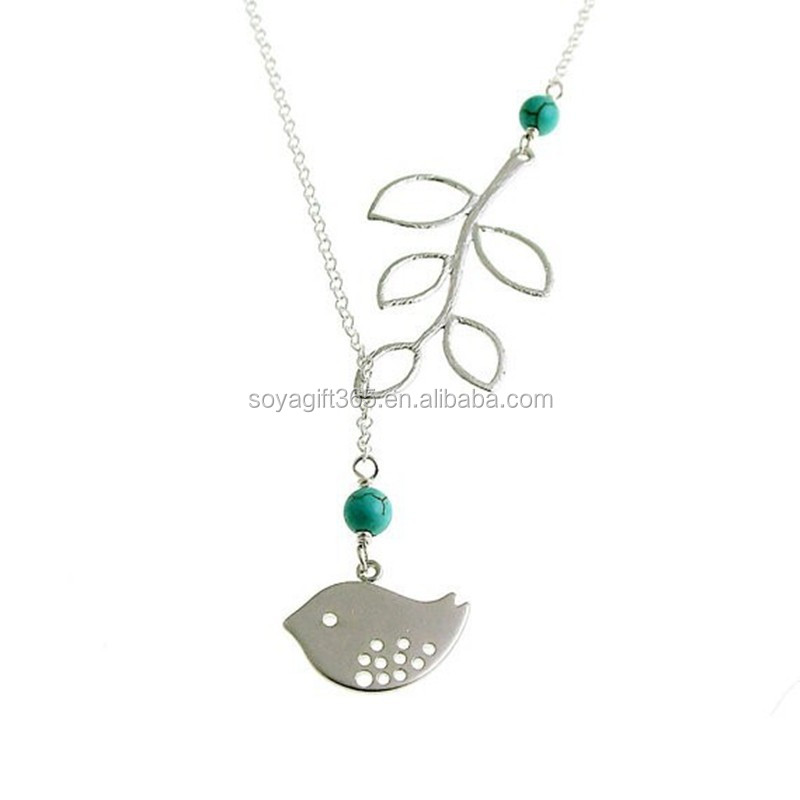 Simple Hollow Out Tree Leaves And Bird Pendant Necklaces For Women