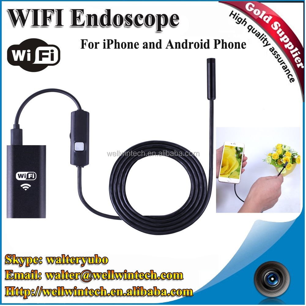 Factory WiFi Endoscope IP67 Waterproof Borescope Inspection camera snake camera 720P with 6 LED for Android and iphone
