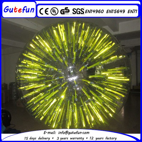 Fluorescent yellow giant inflatable zorb ball with LED light for rolling