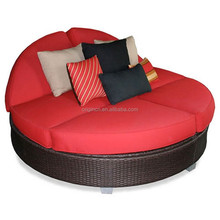 Adjustable backrest design outdoor rattan patio bed furniture round chaise lounge chair