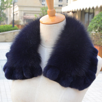 Hot sale new pattern fox/rex rabbit fur collar winter collar for outdoor warm