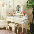 MDF cosmetic table with PU wraped stool wood mirror