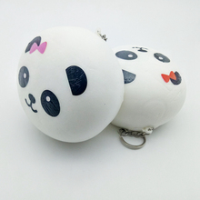 New style pu 10cm jumbo panda bread squishy kawaii slow rising Scented fun Squeeze keychain toys