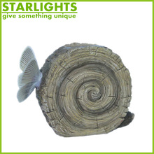 Hot sale polyresin garden stumps with butterfly and solar light