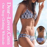 Summer beach open young girl sexy fashion speechless print halter bikini