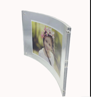 Clear Acrylic Curved Photo Frame Magnet Picture Frame Mounted Double