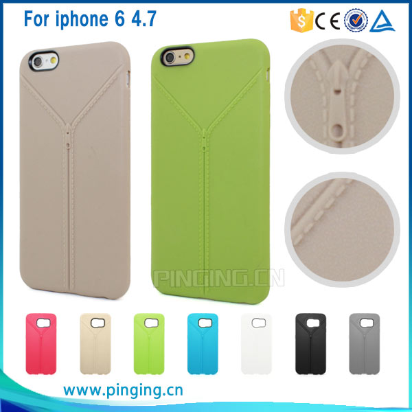 Mobile phone accessory new zipper design soft tpu phone cover for apple iphone 6 6s 6s plus