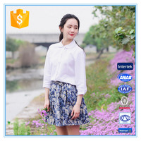 Ladies New Design Casual Cotton Floral Print Short Skirt