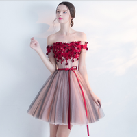 Sexy dress red flower mini off shoulder short sleeve back elestic tube mesh Aline bridesmaid short prom dresses