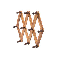 home decoration handmade wood wall mounted expandable coat hook rack hanger