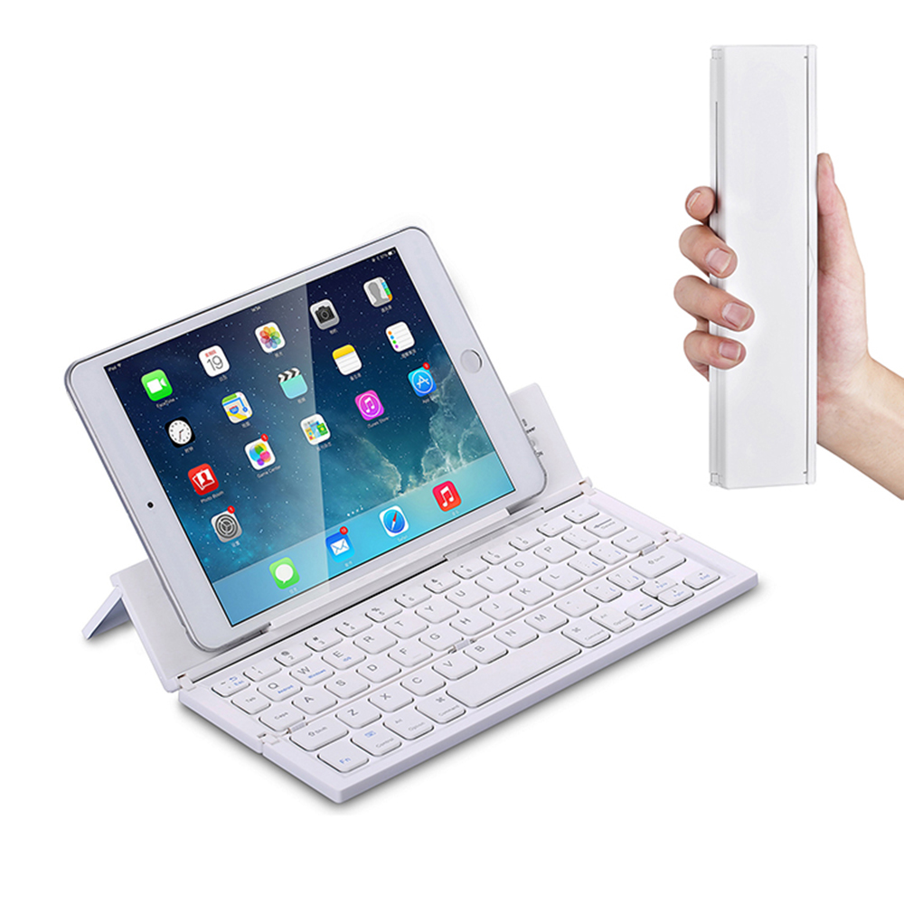 Portable Aluminum Foldable Wireless Keyboard With Stand For Phone Tablet