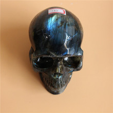 Natural Labradorite Stone Skull Quartz Crystal Skull Carving