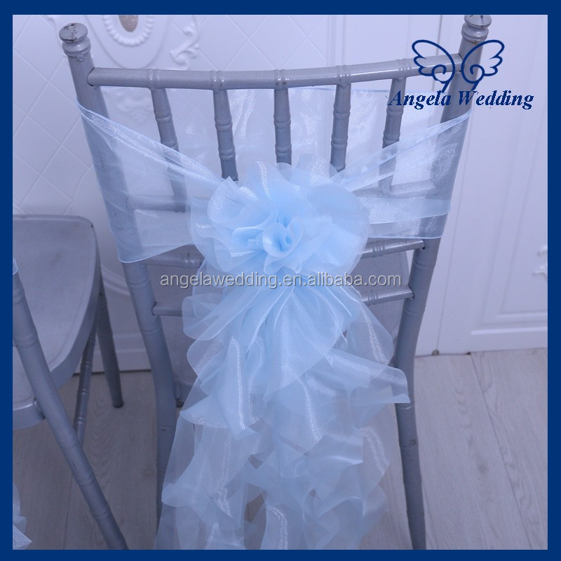 SH001B Wholesale cheap elegantcurly willow fancy light blue wedding chair sash