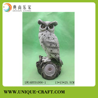 Poly resin bird owl with light for home decoration
