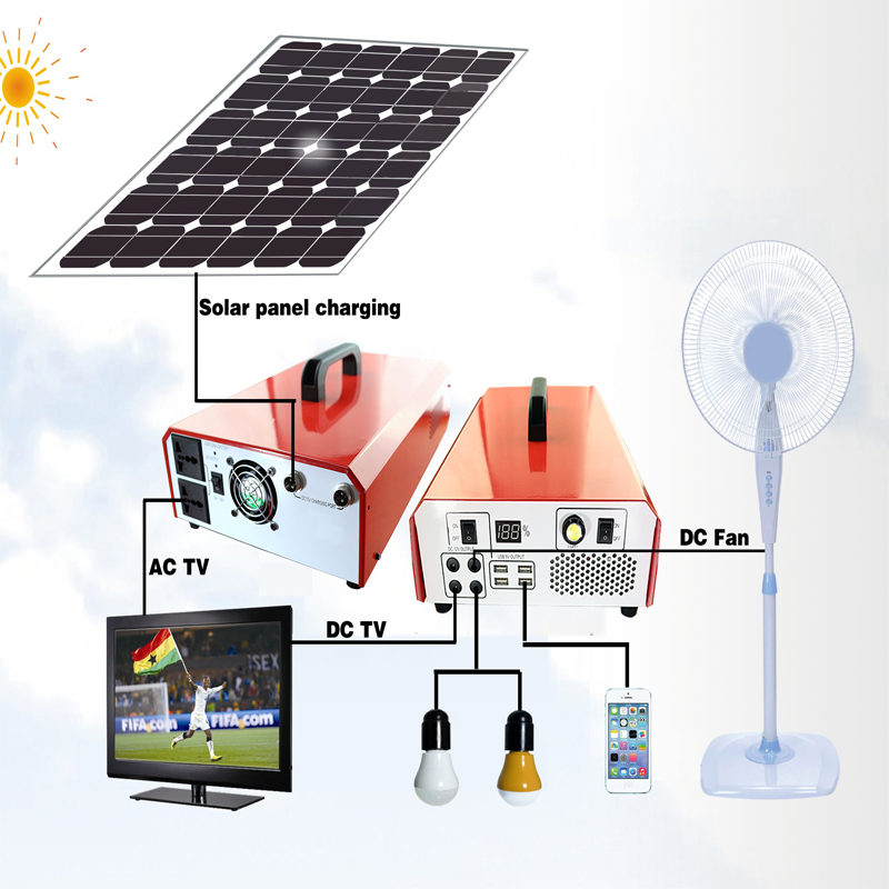 shenzhen mindtech 500W 600W inverter UPS storage solar power system kit for AC and DC loadings
