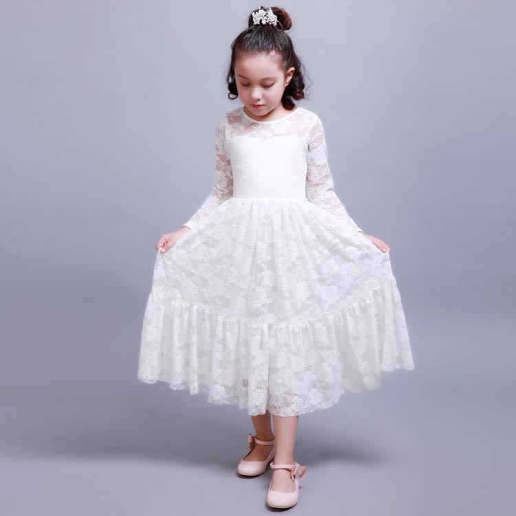 Full Sleeve Party Dresses Embroidered Lace Dress Fabric Flower Girl Dress