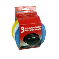 Auto Shine 3 Polish Applicator Pads with Handle for wax
