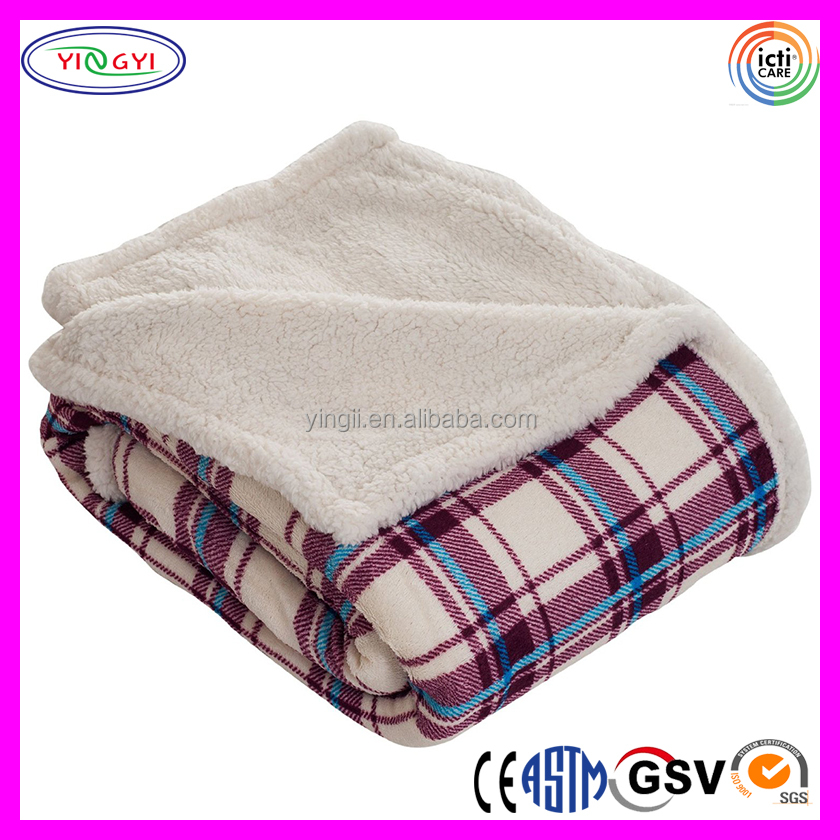 C998 Warm Throw Polyester Blanket Mink Fleece Sherpa Plaid 100 Polyester Mink Blanket