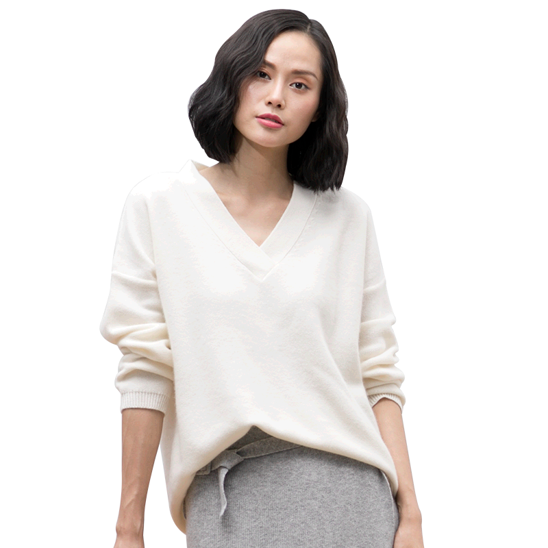 Women casual V neck pure cashmere pullovers new design autumn/winter solid color cashmere knitting pullover