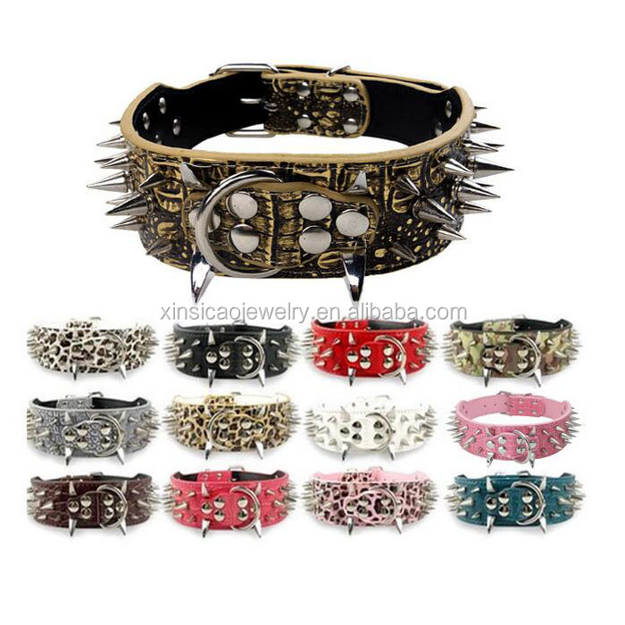 Wide Spiked Rivet Studded Adjustable Pu Leather Pet Collars for Cats Puppy <strong>Dogs</strong>