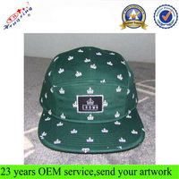 OEM Custom Wholesale 5 Panel Hat/Cap Print Pattern 5 Panel Adjustable Hat/Cap Fashion Design