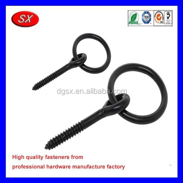 custom black e-coated steel wood screw eye hook screws with ring