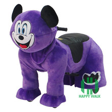 Kids popular furry riding electric animal motorized plush riding horse toys electric motorized animal toys with mickey mouse