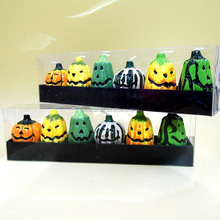 Carved Green and Yellow Pumpkin Halloween Candles