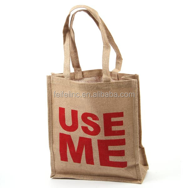 Promotional Eco friendly handle burlap bags with logo