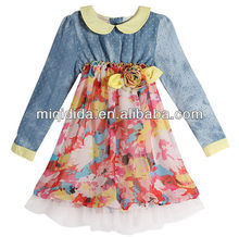 wholesale manufacturer 2012 hot Cowboy joining together flower chiffon long sleeve autumn/spring beautiful design kids dress