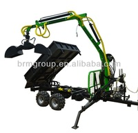 Hydraulic Log Trailer With Crane, Tilting loader and Earth Grapple Bucket