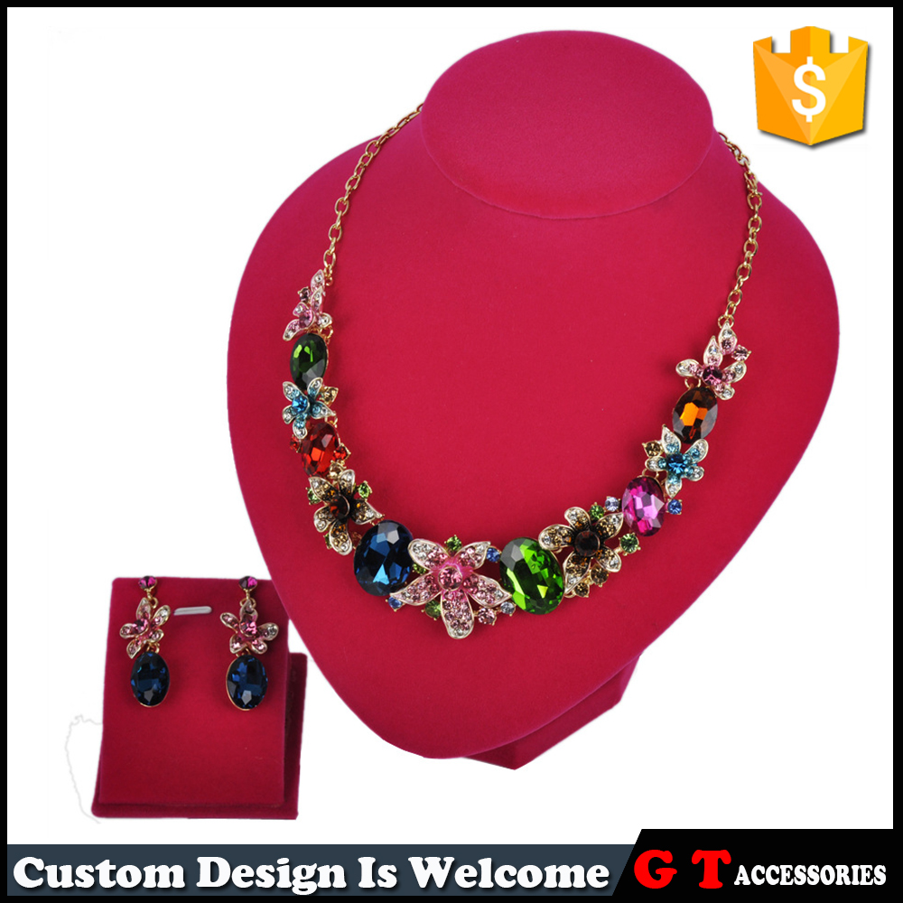 Multi Color Flowers Big Ellipse Crystal Necklce Earrings With Big Crystal Pendant Jewelry Sets For Women