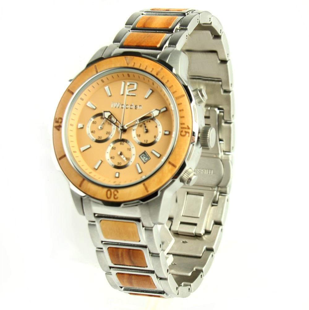 High-end Mens Chronograph Waterproof Stainless Steel Wood Watch