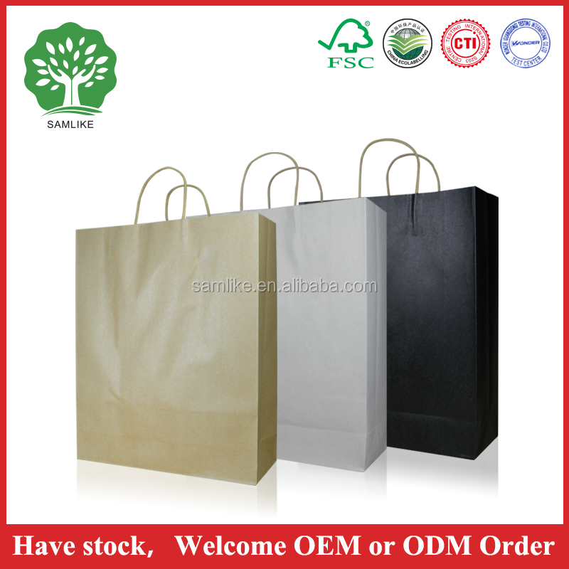 Customized Printing Gift Packaging Used New Design Green Glossy Paper Bags With Rope Handles