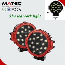 Matec Best seller 3W Epistar 51W led working light,4x4 auto working light 51w led car light