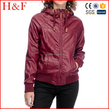 Stylish Zip up faux leather windbreaker jacket